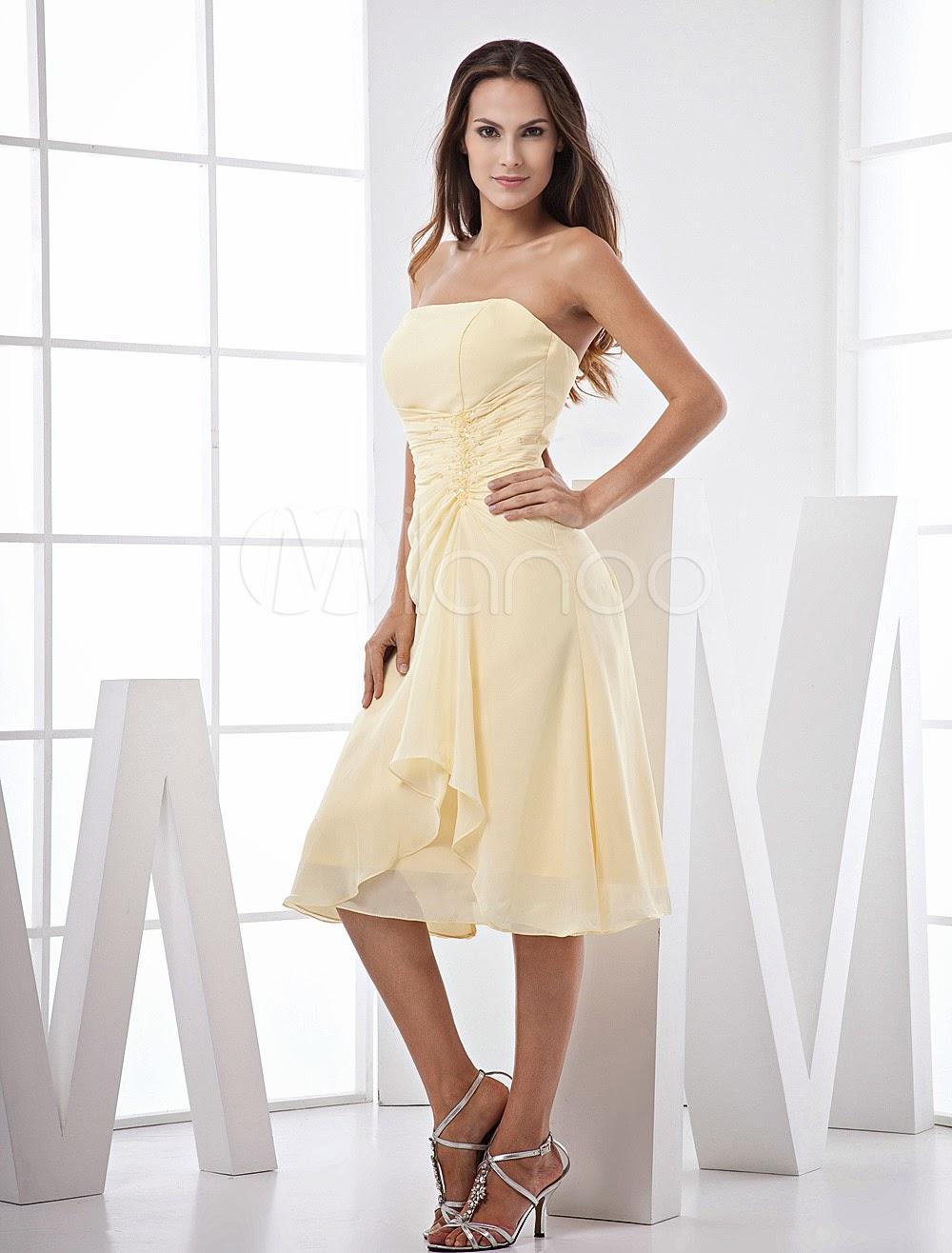 Robes sexy - Robe demoiselle d'honneur A-ligne en chiffon jonquille encolure bustier