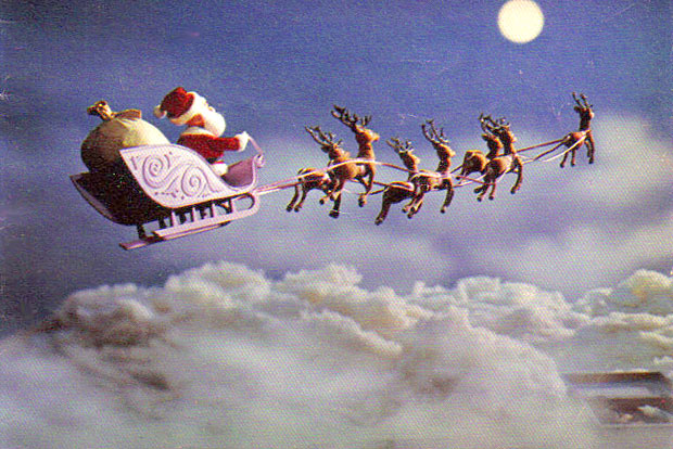 Santa's sleigh gliding throught he sky in Rudolph the Red-Nosed Reindeer 1964 animatedfilmreviews.blogspot.com