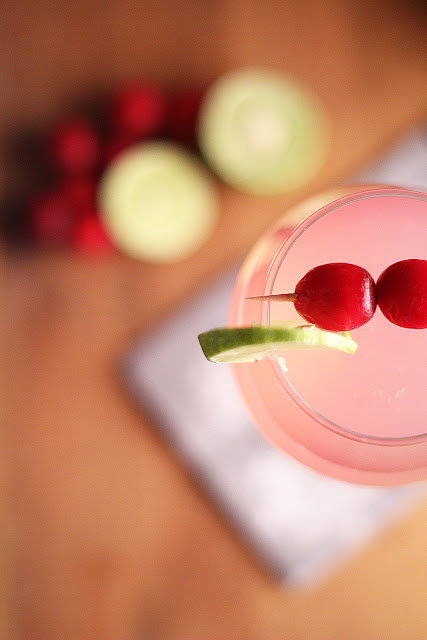 Overhead view of Cranberry Ginger Fizz in a wine glass