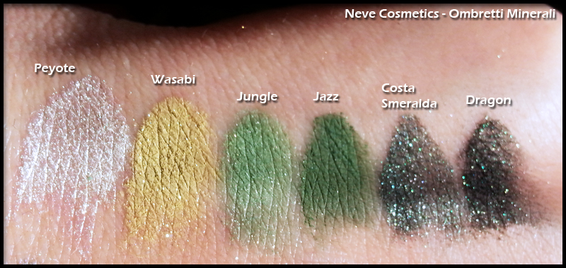 Neve Cosmetics - Ombretti Minerali - Swatch di Peyote, Wasabi, Jungle, Jazz, Costa Smeralda e Dragon