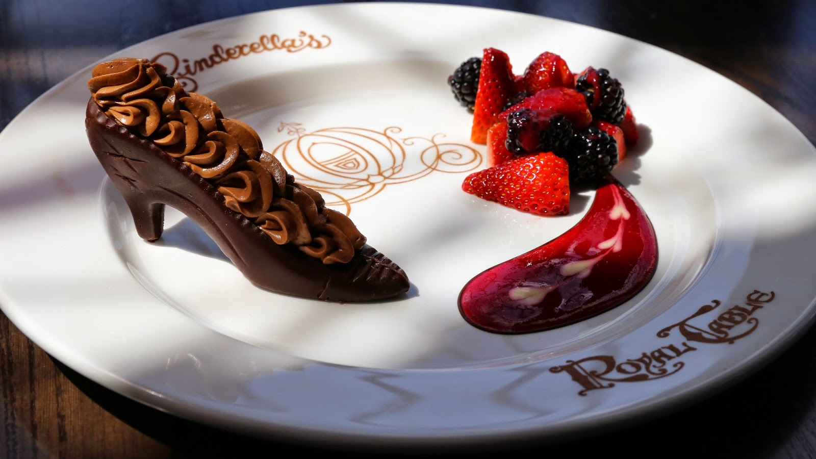 cinderella's signature slipper chocolate dessert