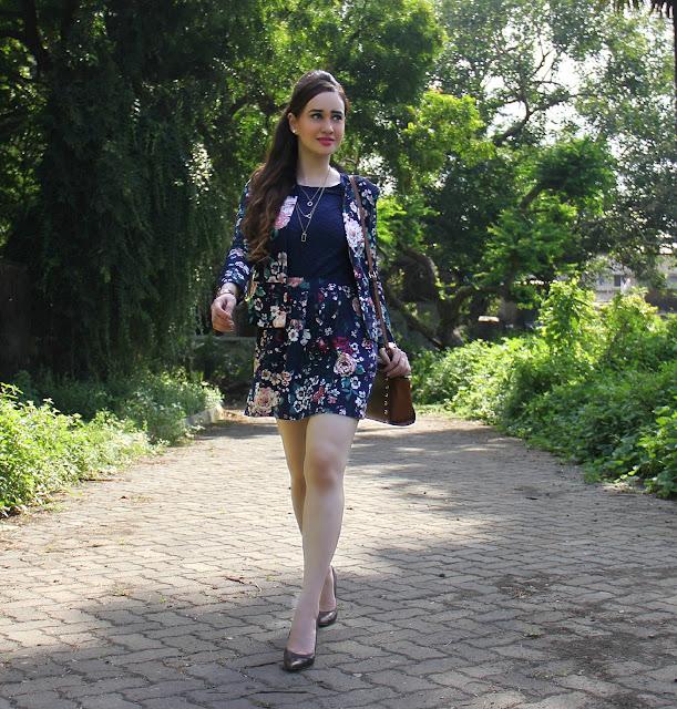 ONLY Floral Blazer, Floral Skirt, Navy Blue Top
