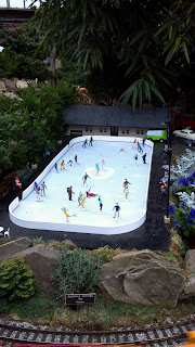 model ice skating rink in a greenhouse
