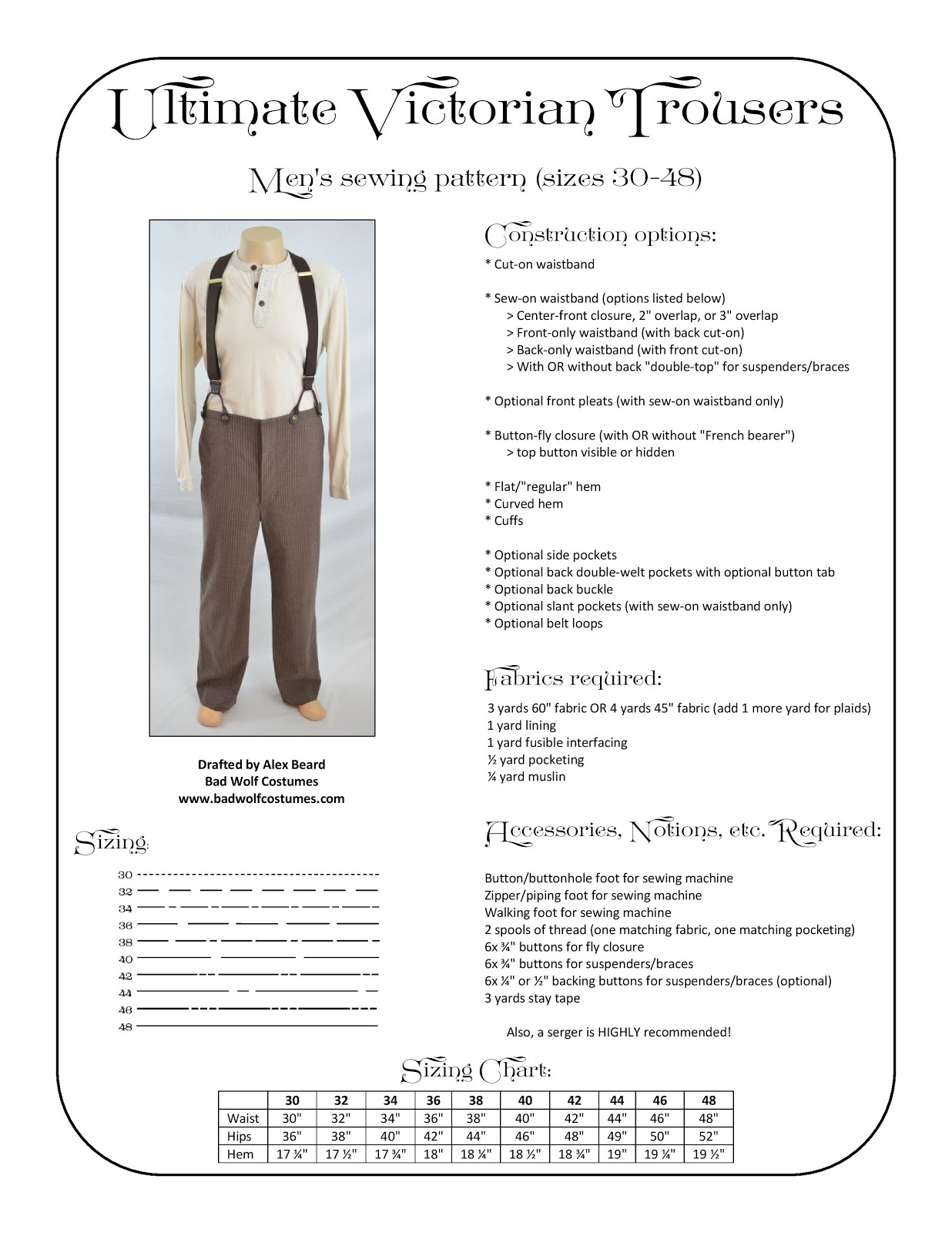 Ultimate Victorian Trousers Sewing Pattern