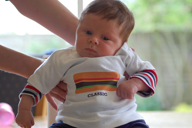 Baby 'Slider' Hamburger Me! sporting his classic burger Tee (it's 3-6 months so a little big on him!)