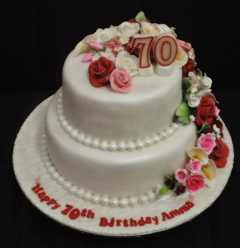 Cakes And Cupcakes Johor Bahru 2 Tiers Fondant 70th Birthday Cake