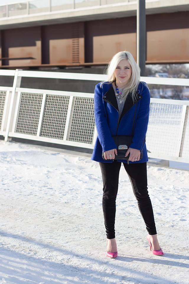 Royal blue jacket (Forever 21), colorful art deco necklace, pink heels and velvet leggings (mod cloth).