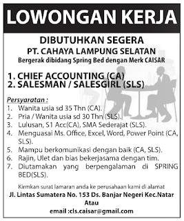 Bursa Kerja Lampung PT. Cahaya Lampung Selatan