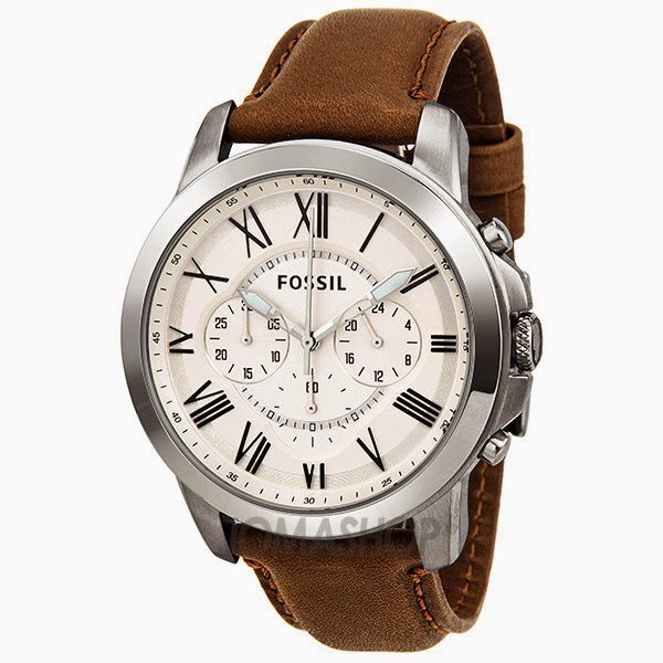 shipping product overstock watch jewelry authentic today watches fossil mens leather brown free men s