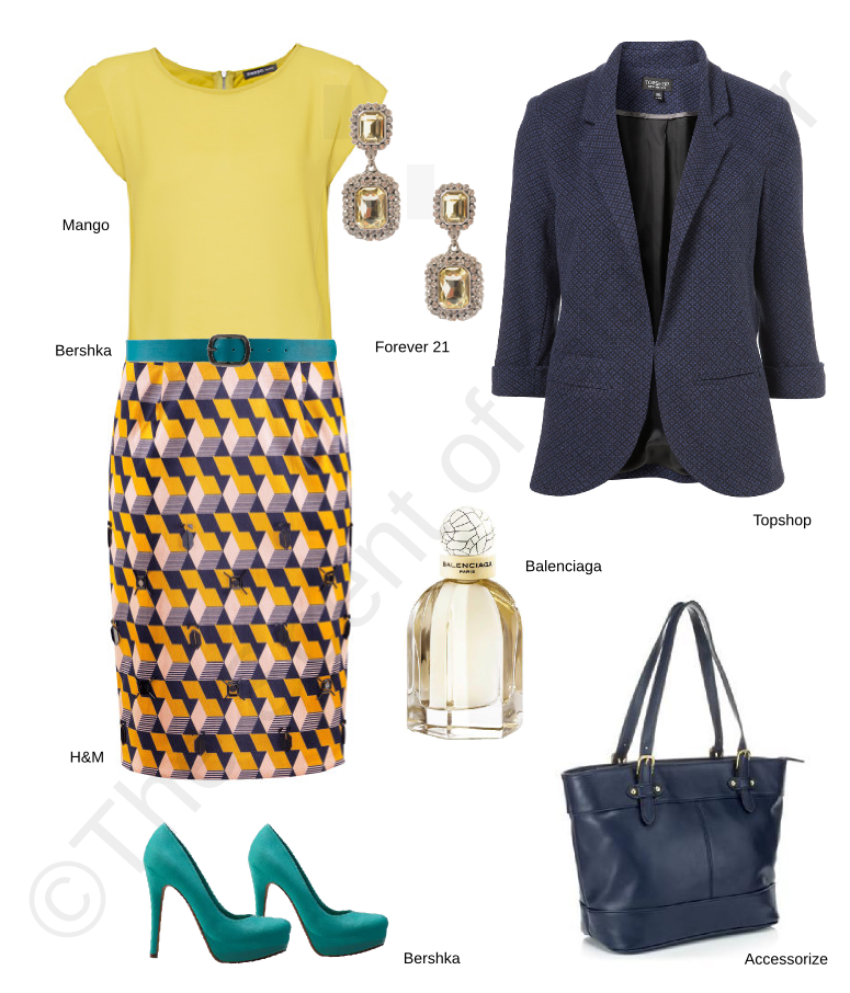 forever 21 earrings, bershka turquoise belt, bershka turquoise shoes, h&m patterned pencil skirt, balenciaga perfume, accessorize blue bag, topshop blue blazer, mango yellow top