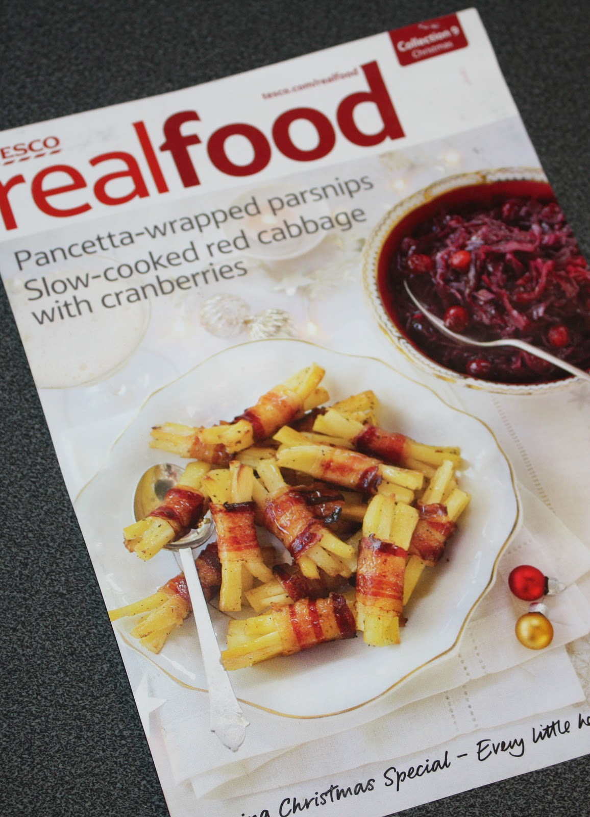 Tesco recipe card pancetta wrapped parsnips red cabbage with the card is from tescos christmas collection and features two recipes forumfinder Image collections
