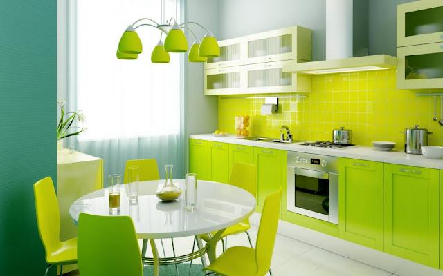 cuisine moderne pep's verte avec accessoires colorés