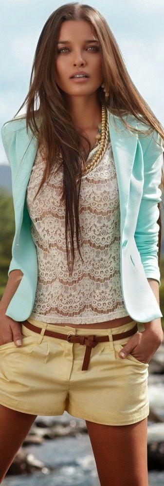 Look tons pastel tendencia primavera verão 2015 blusas renda e calções