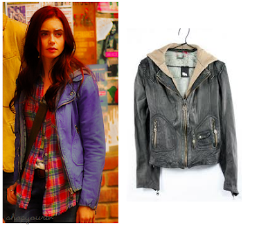 The Mortal Instruments: City of Bones Clary's Blue Hooded Leather Jacket (Lily Collins)