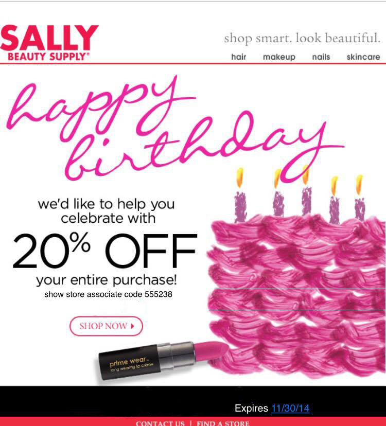 Sally's 20% Coupon