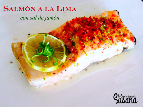Salmón a la lima con sal de jamón receta sana