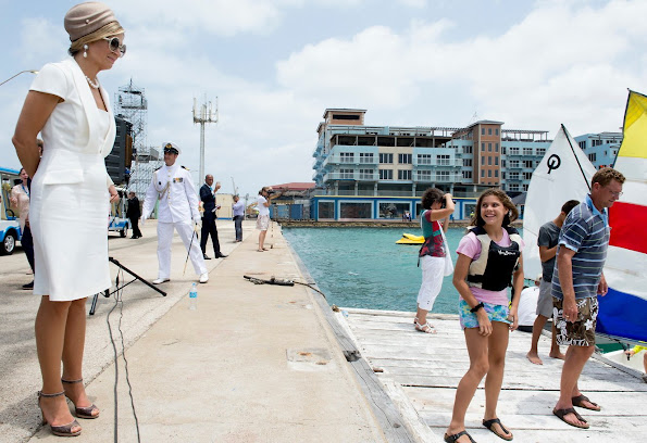 Queen Maxima of the Netherlands King Willem-Alexander of the Netherlands visited Sail Aruba 2015 on the island of Aruba