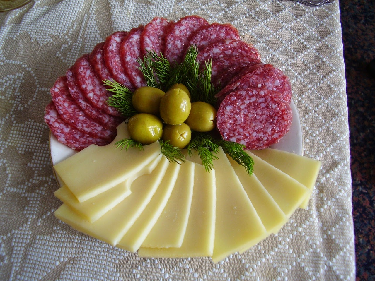 Tray of Salame, Cheese, and Green Olives