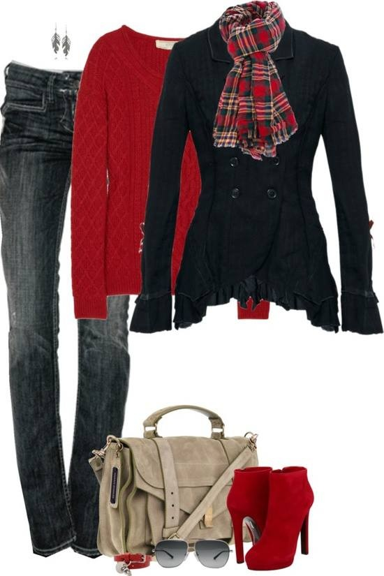Red sweater, jeans, black long jacket, scarf and red high heel shoes for fall