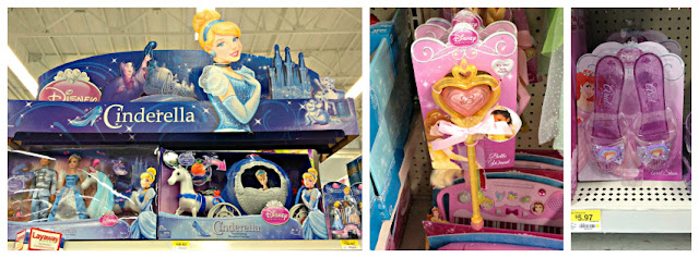 Cinderella display and Disney Princess Dress Up items at Walmart #DisneyPrincessWMT