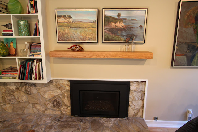 Mid-century modern fireplace mantle after picture
