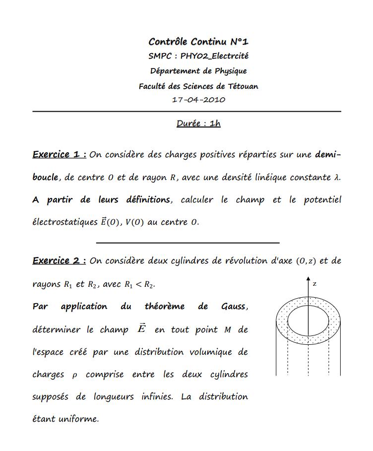 Contrôle Continu Electrcité 1 s2
