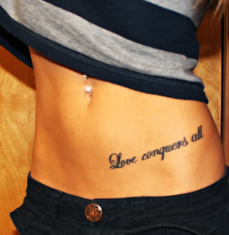 ♥  ♫ ♥ Sierra Gardner first tattoo ! Love conquers all tattoo quote hip tattoo ♥  ♫ ♥