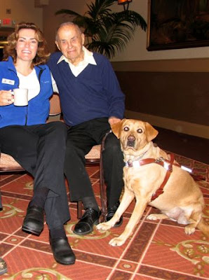 Emily Simone with Don Knight and his guide dog