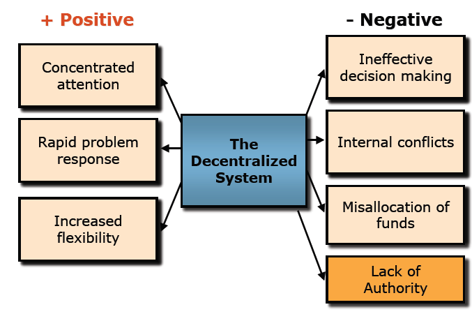 disadvantages of decentralisation Centralization in any business organization is the spotlight of pre-eminence and control which lies in the hands of very few people implementation of this abstract notion will bring out both positives and negatives, just like in any concept.