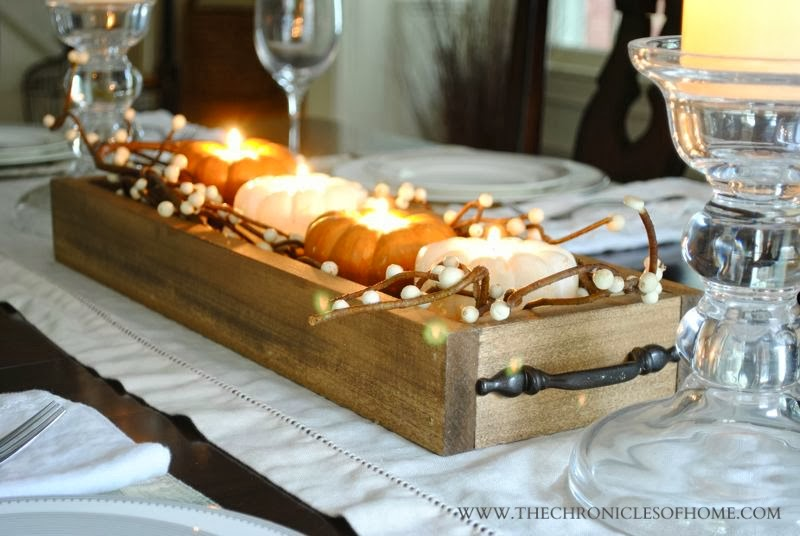 Easy wooden tray centerpiece
