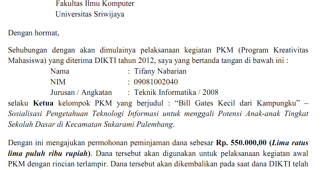 contoh surat permohonan pinjaman dana | Contoh Surat