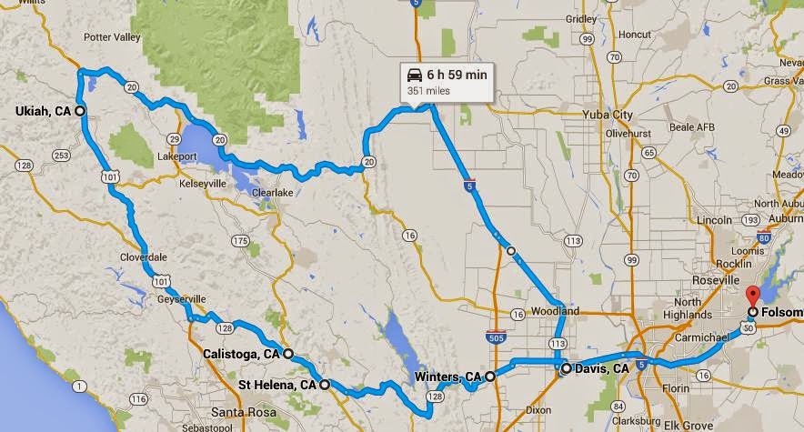 Map of Folsom to Ukiah and back