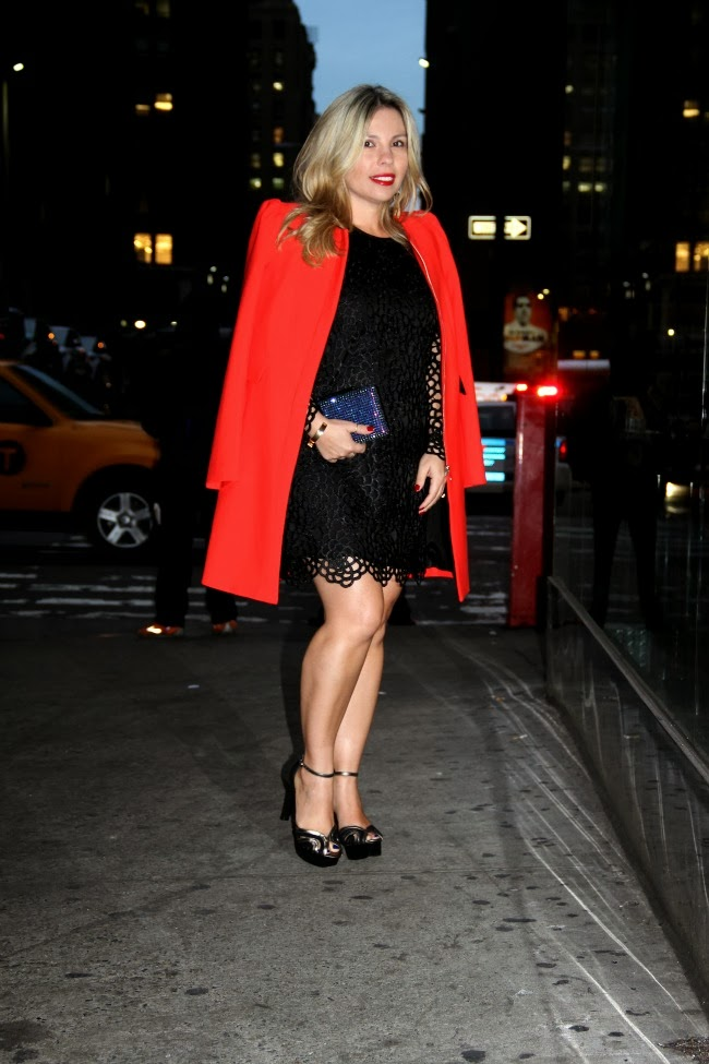 Long red jacket and little black dress