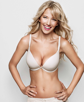 Ultimo White 'OMG' +2 cup sizes push up plunge bra