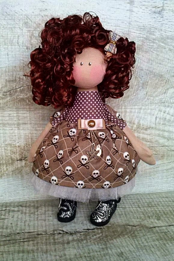 кукла, кудряшка, по мотивам коннэ, подарок для девочки, кукла в черепах, скелет