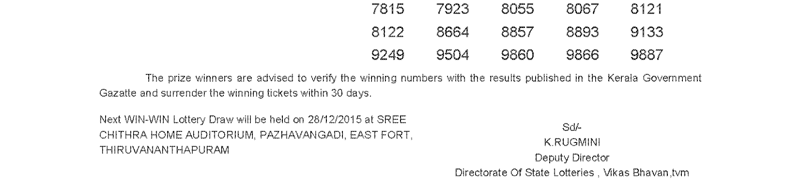WIN WIN Lottery W 339 Result 21-12-2015