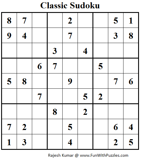 Classic Sudoku (Fun With Sudoku #91)