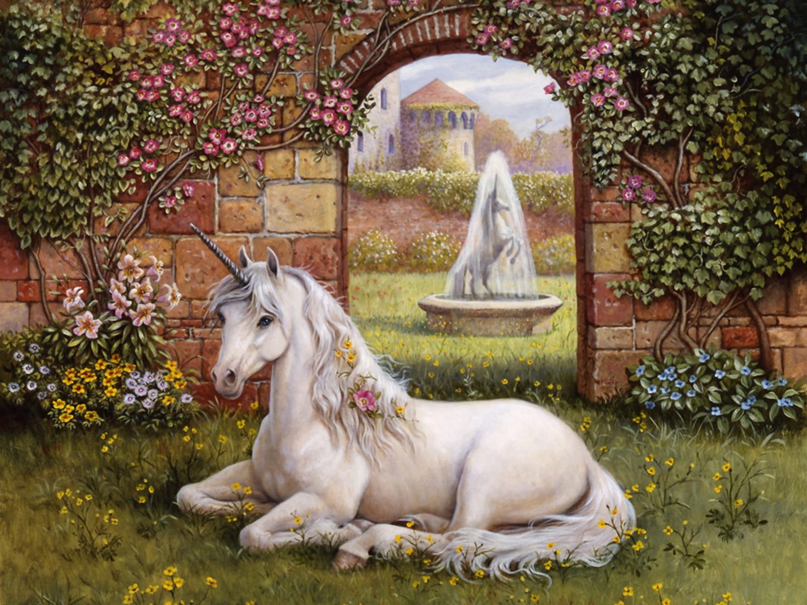 bello unicornio en jard n imagenes y carteles