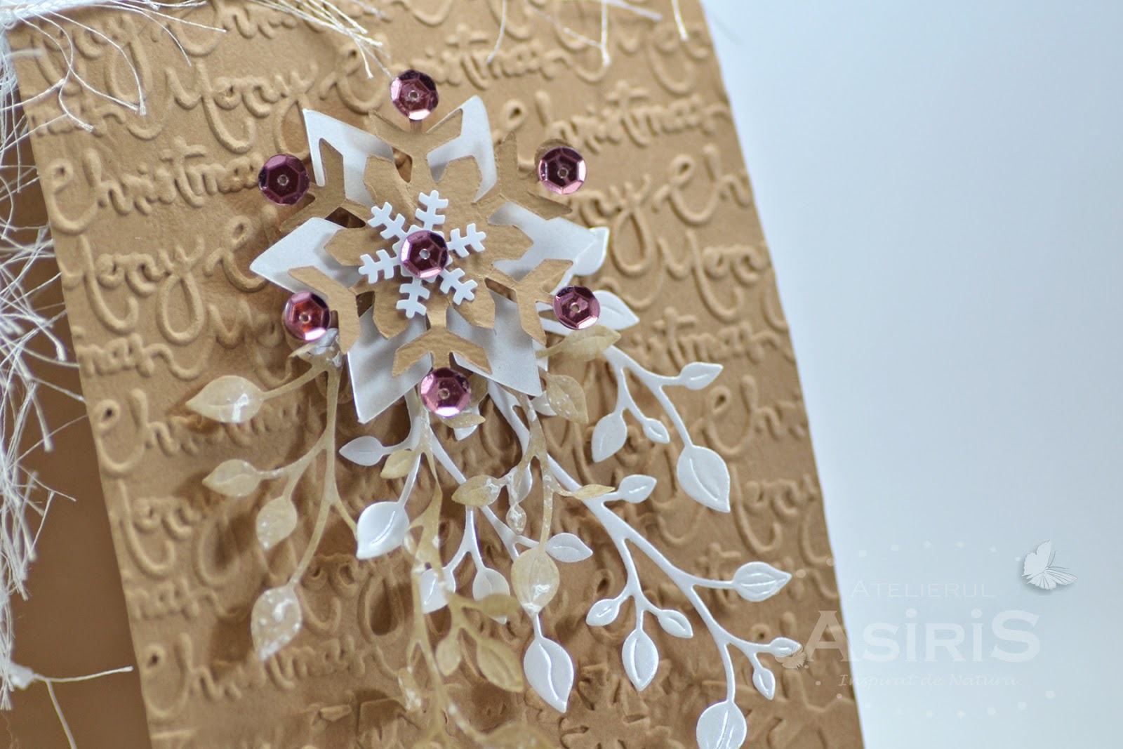 Christmas Handmade Card with Vintage Snowflake - detail