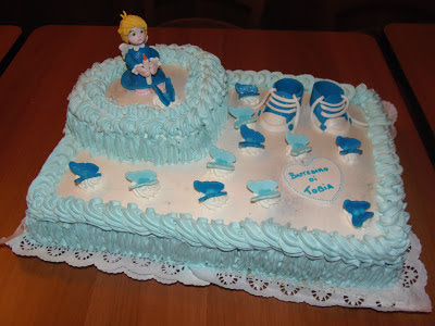 A metà dicembre abbiamo celebrato il Battesimo del Piccolo Tobia  e  la torta???? ovviamente l\u0027ho fatta io!!!! Base classica alla vaniglia con  crema