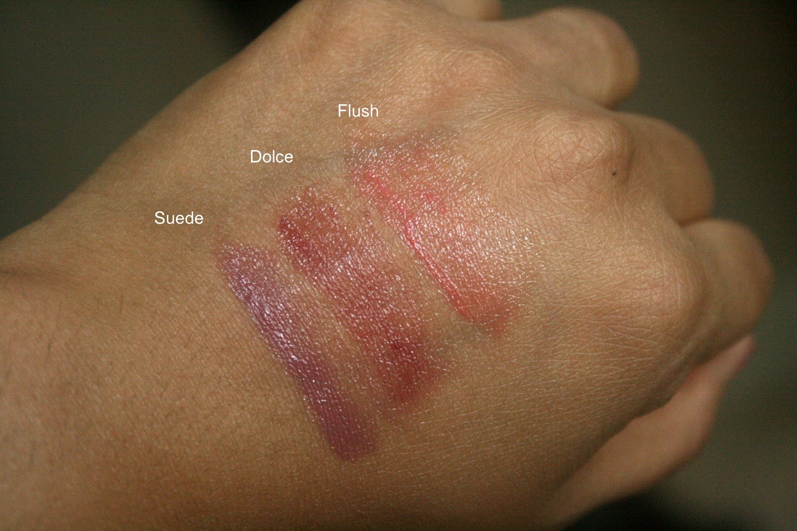 Bite Beauty BB For Lips Suede, Dolce, Flush Swatches