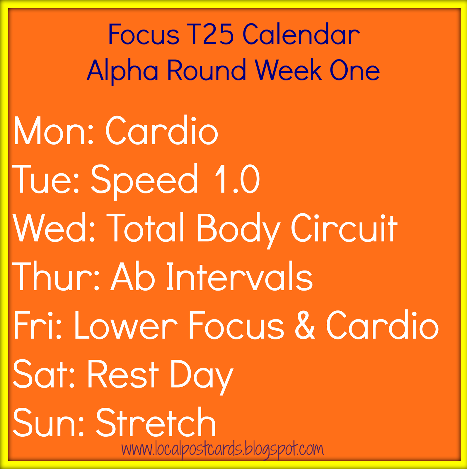 T25 Alpha Week One Calendar