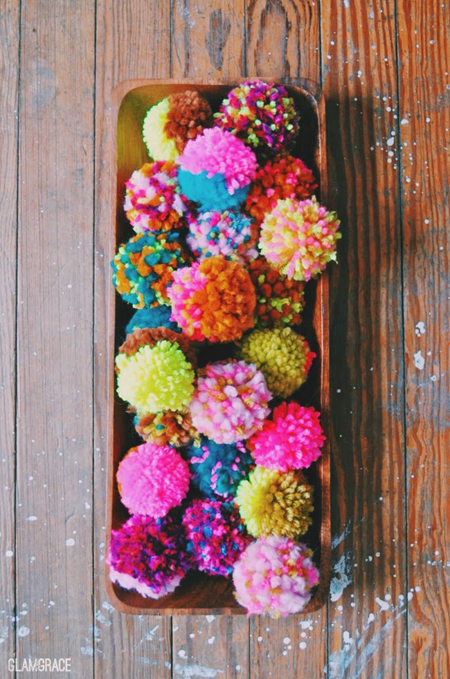 neon pastel yarn pom poms