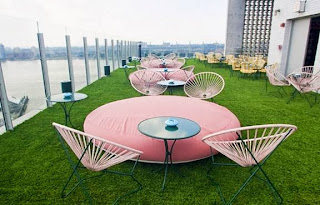 terrace furniture at the Standard Hotel