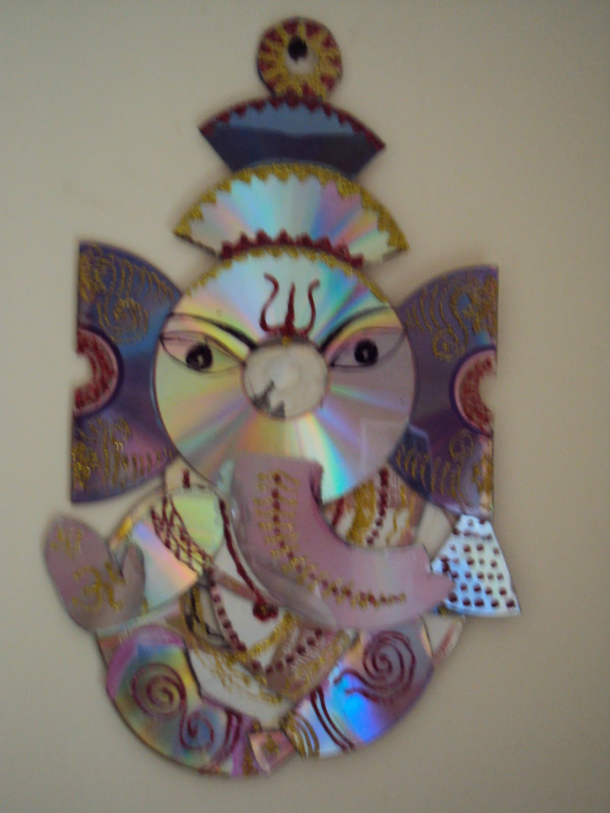 My ganesha collection ganesh made with cds for Things made from waste