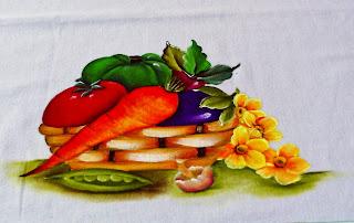 pintura de cesta com legumes