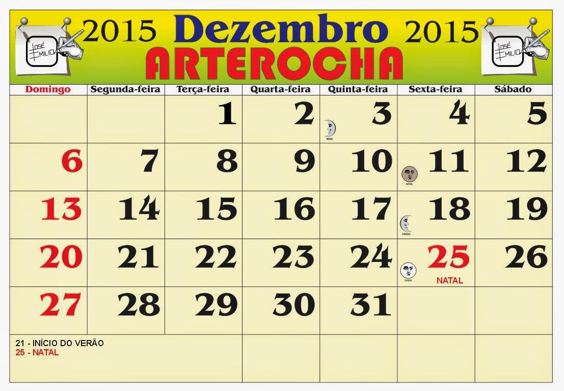 ... do mês de Dezembro 2015, com as fases da lua e feriados nacional