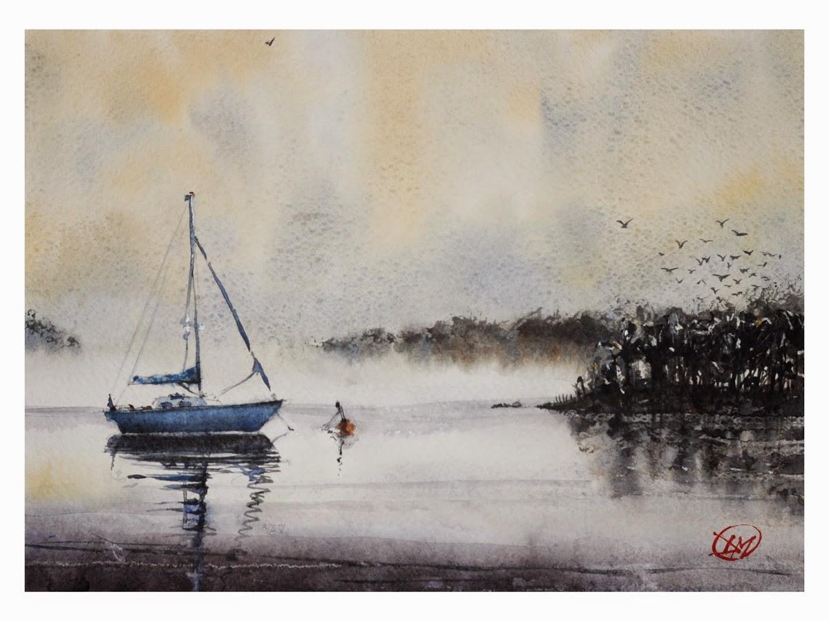 Watercolour of sailing boat by David Meldrum