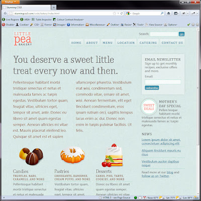 Screen shot of http://stunningcss3.com/code/bakery/index.html.