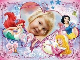 Montagem de fotos dia das crianças com as Princesas da Disney